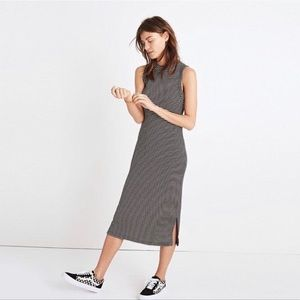 Madewell Striped Ribbed Mockneck Midi Dress